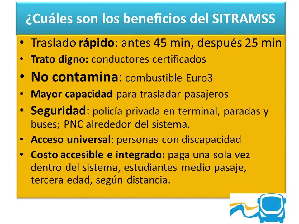 ¿Cuáles son los beneficios del SITRAMSS