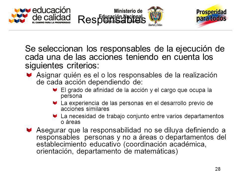 Responsables Se seleccionan los responsables de la ejecución de cada una de las acciones teniendo en cuenta los siguientes criterios: