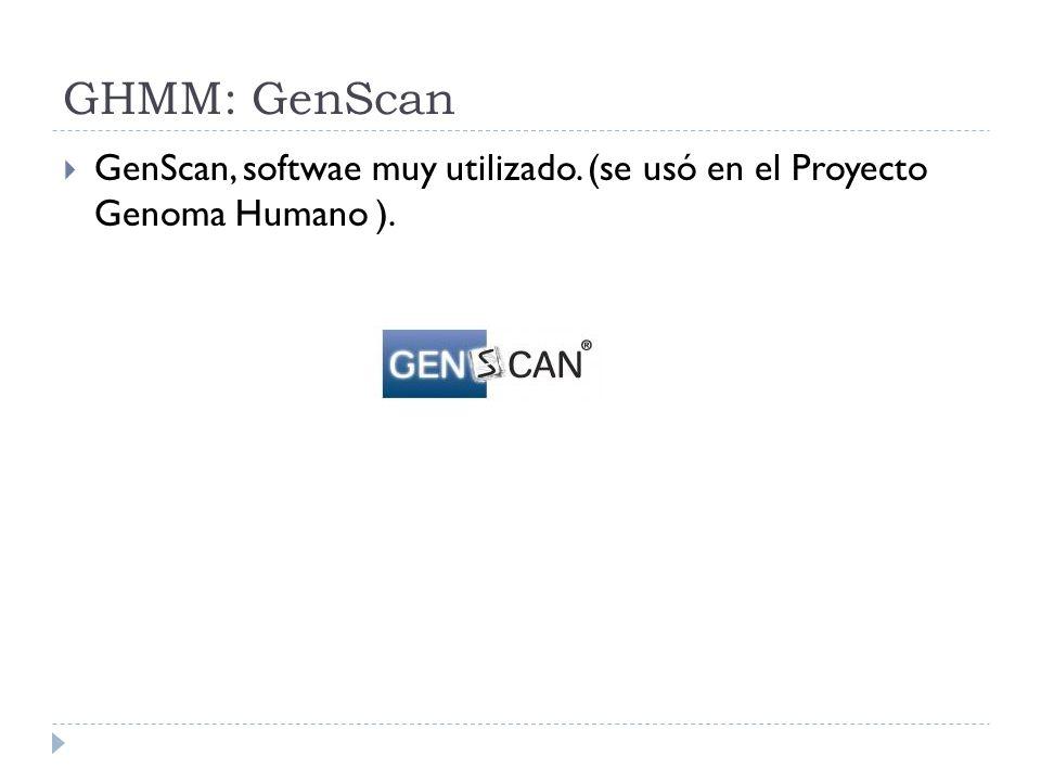 GHMM: GenScan GenScan, softwae muy utilizado. (se usó en el Proyecto Genoma Humano ).