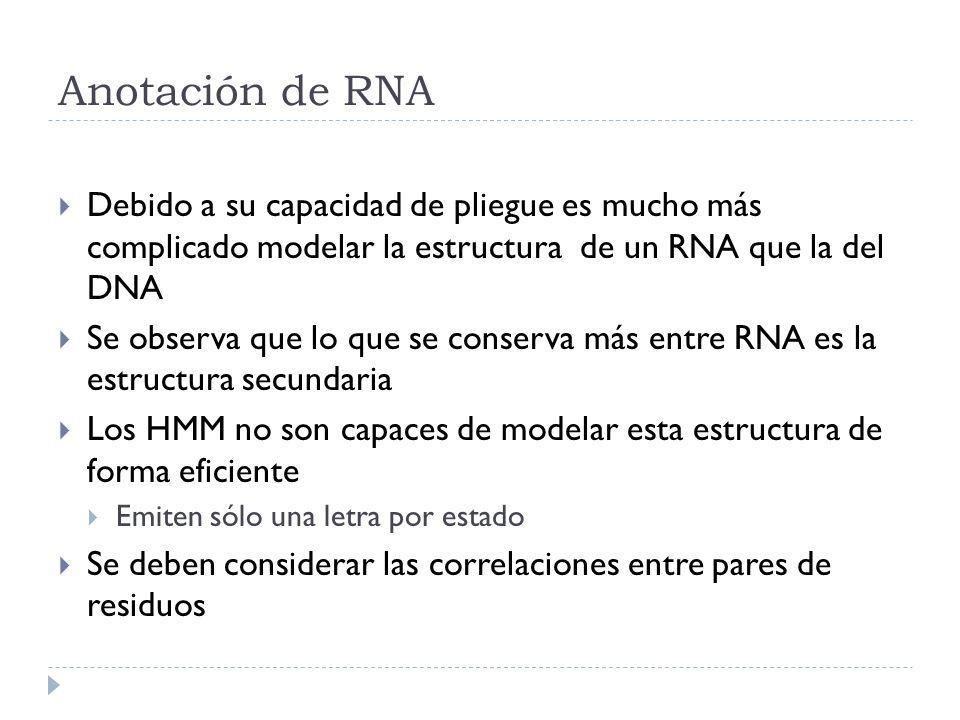 Anotación de RNA Debido a su capacidad de pliegue es mucho más complicado modelar la estructura de un RNA que la del DNA.