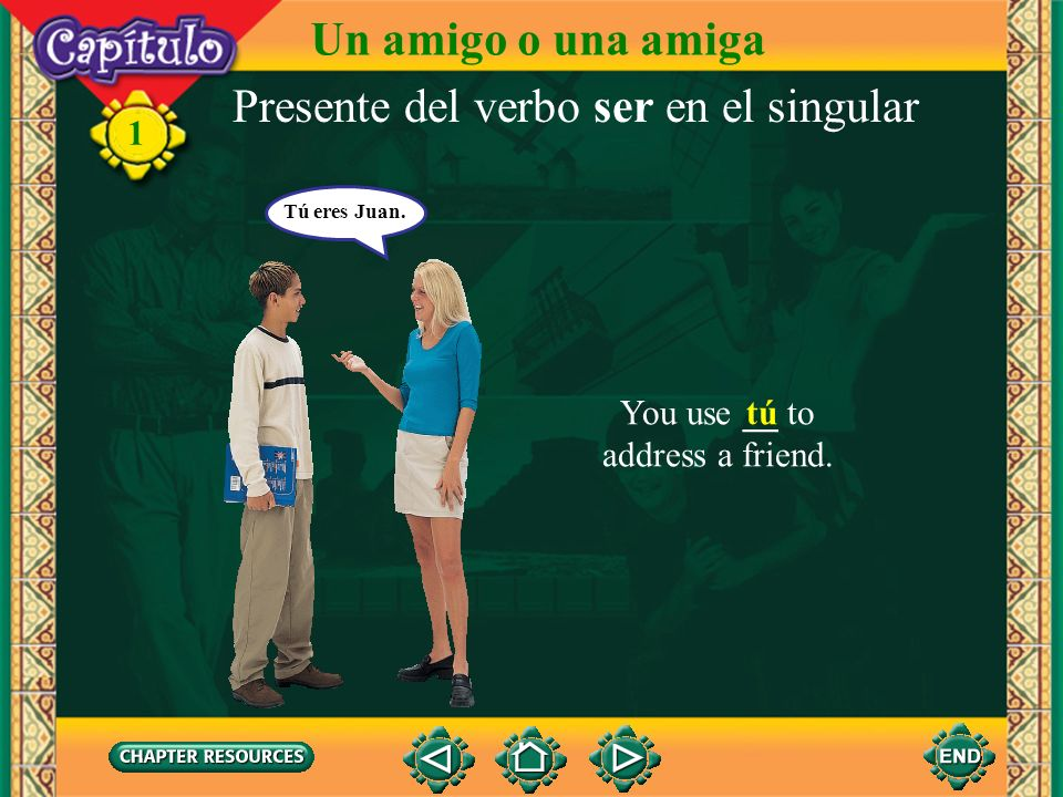 Presente del verbo ser en el singular