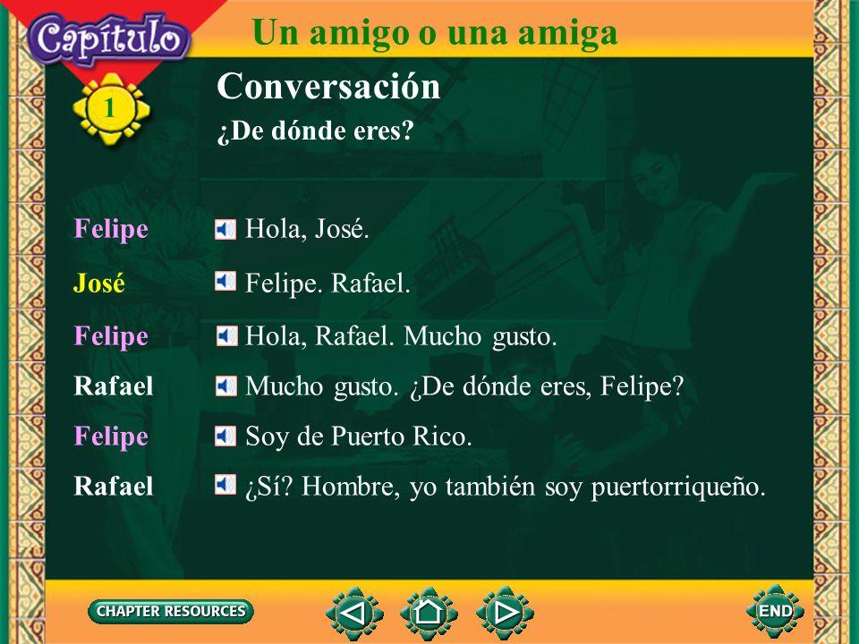 Un amigo o una amiga Conversación 1 ¿De dónde eres Felipe Hola, José.