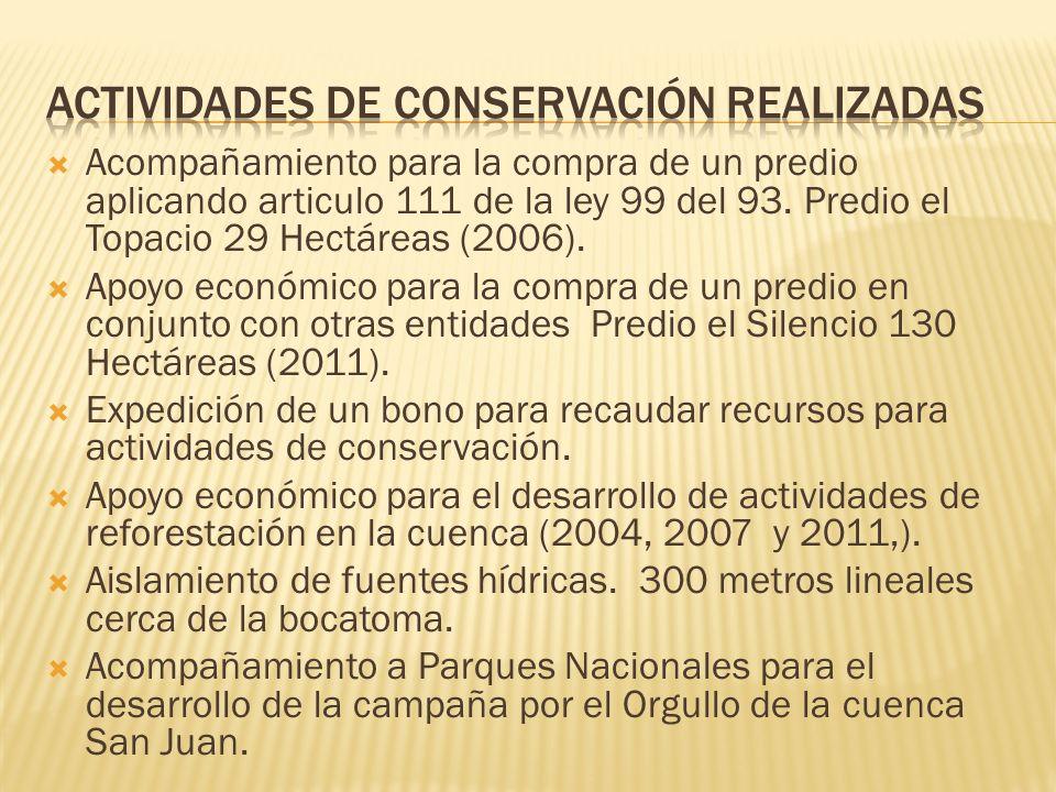 Actividades de conservación realizadas