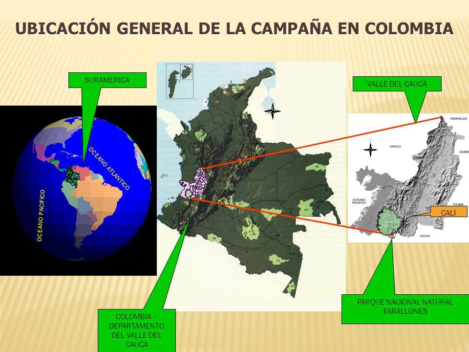 UBICACIÓN GENERAL DE LA CAMPAÑA EN COLOMBIA