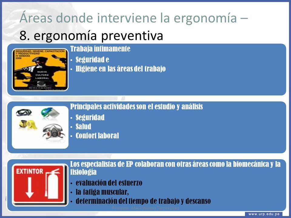 Áreas donde interviene la ergonomía – 8. ergonomía preventiva