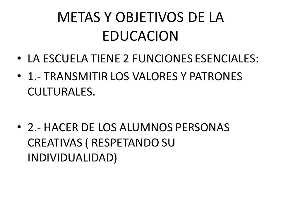 METAS Y OBJETIVOS DE LA EDUCACION