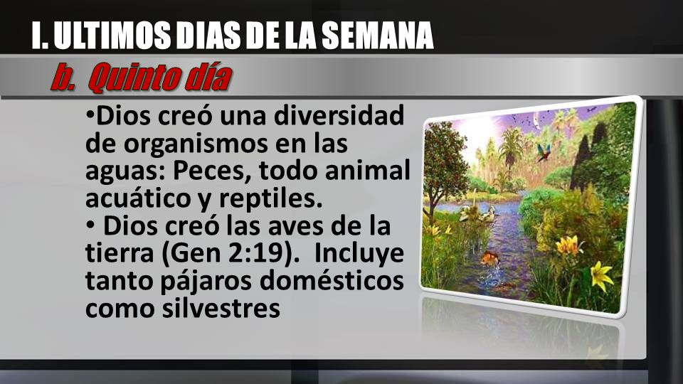 I. ULTIMOS DIAS DE LA SEMANA b. Quinto día