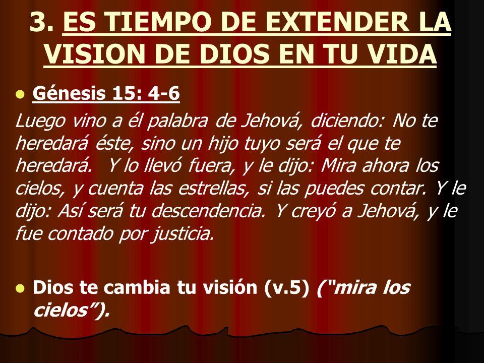 3. ES TIEMPO DE EXTENDER LA VISION DE DIOS EN TU VIDA