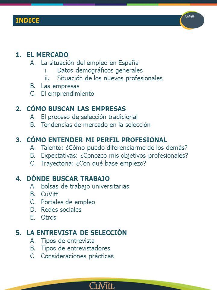 INDICE EL MERCADO. La situación del empleo en España. Datos demográficos generales. Situación de los nuevos profesionales.