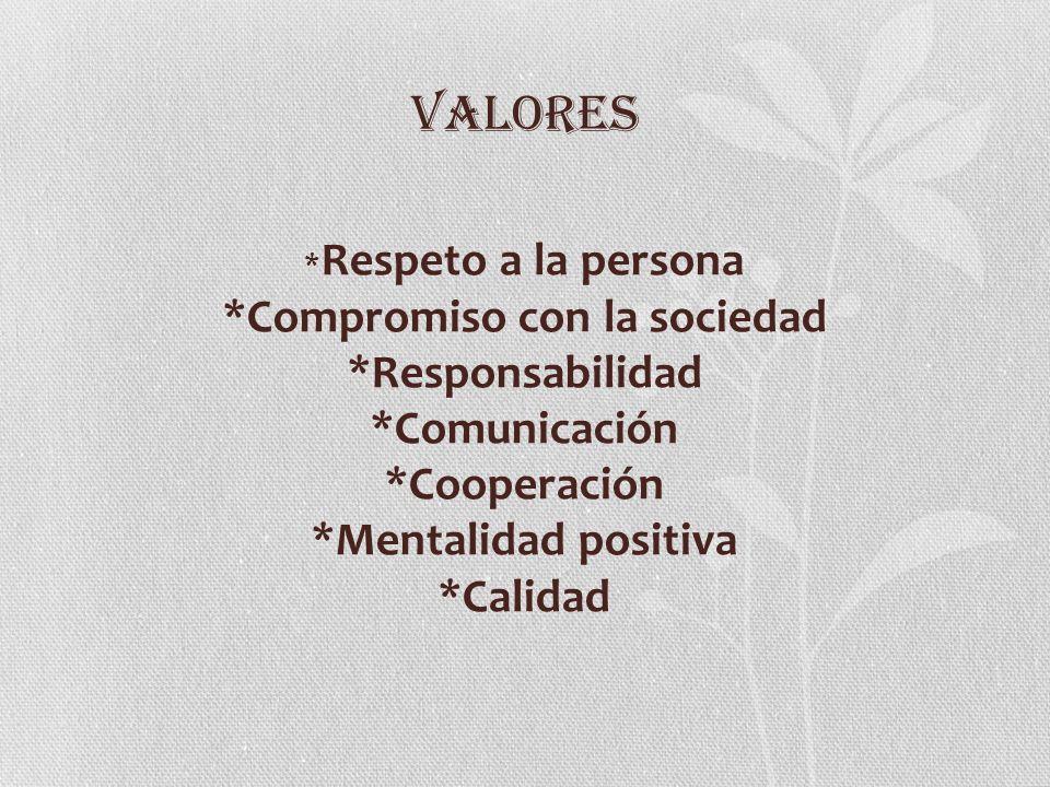 VALORES*Respeto a la persona *Compromiso con la sociedad *Responsabilidad *Comunicación *Cooperación *Mentalidad positiva *Calidad.