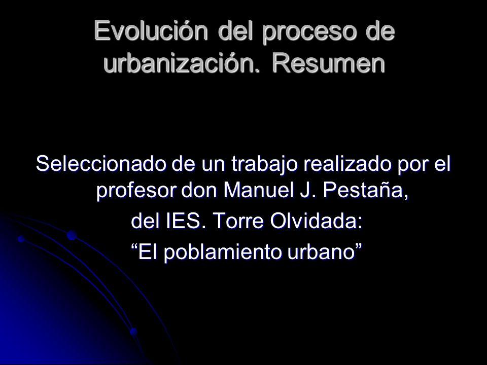 Evolución del proceso de urbanización. Resumen