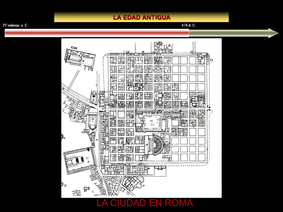 LA EDAD ANTIGUA IV milenio a. C. 476 d. C. LA CIUDAD EN ROMA Timgad
