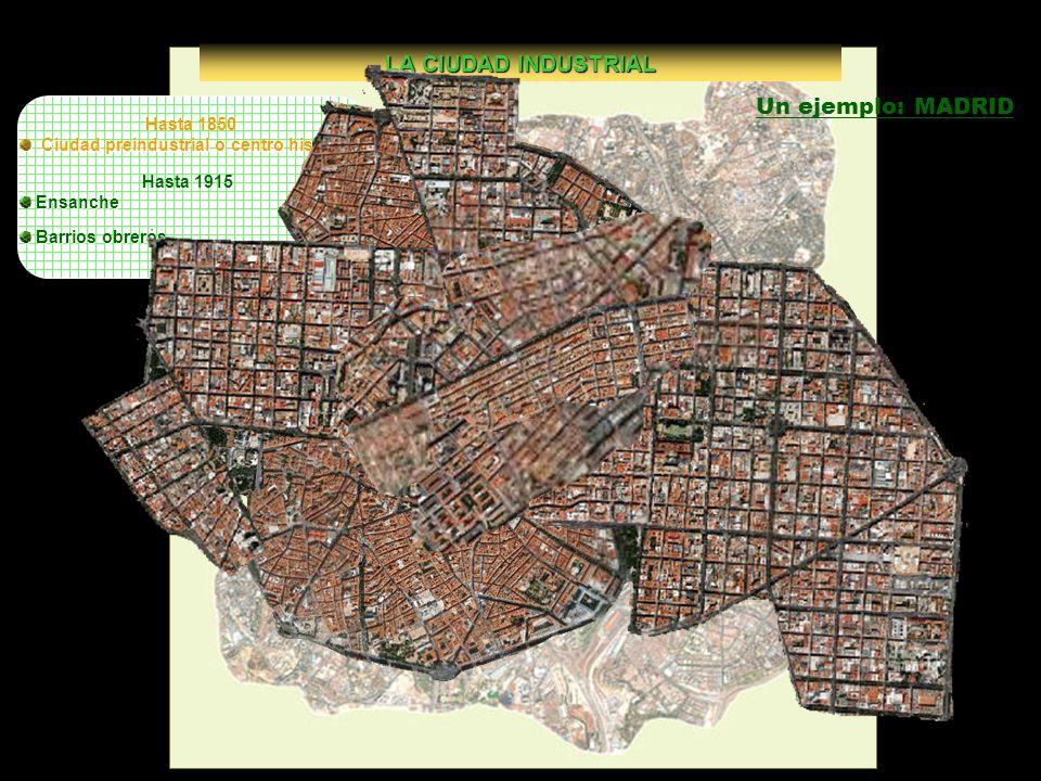 LA CIUDAD INDUSTRIAL Un ejemplo: MADRID Hasta 1850
