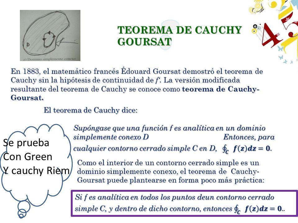Se prueba Con Green Y cauchy Riem TEOREMA DE CAUCHY GOURSAT