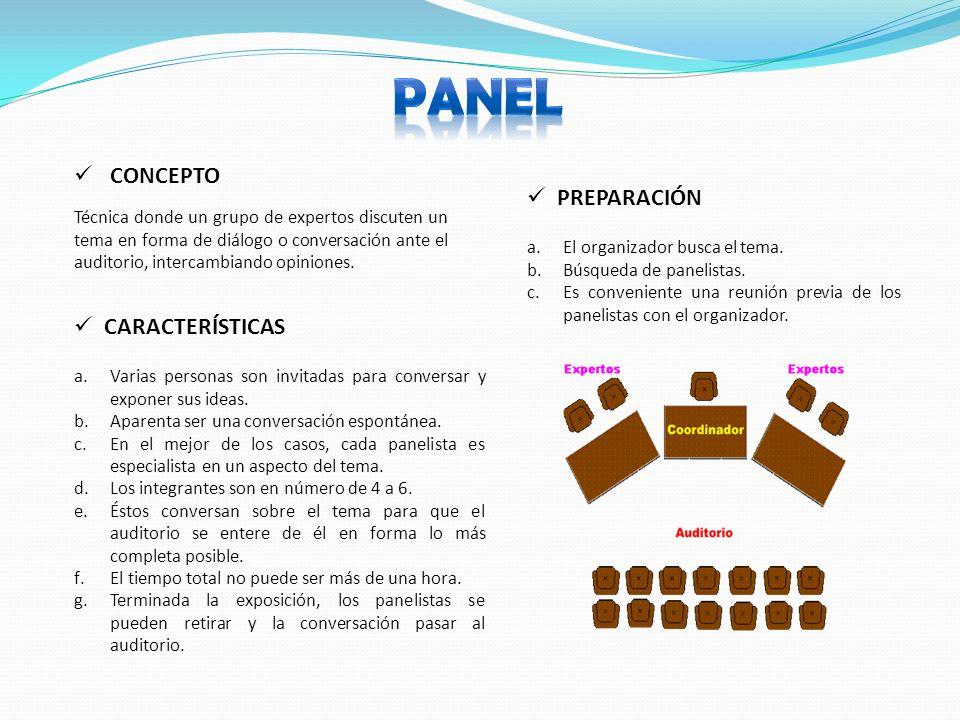 PANEL CONCEPTO PREPARACIÓN CARACTERÍSTICAS