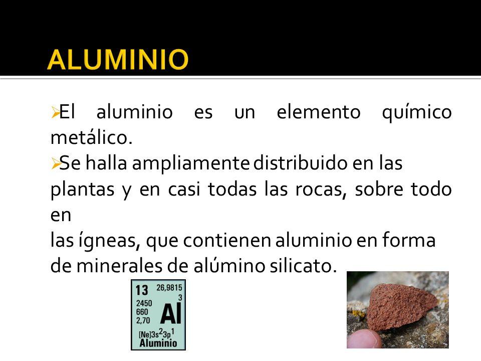 ALUMINIO El aluminio es un elemento químico metálico.