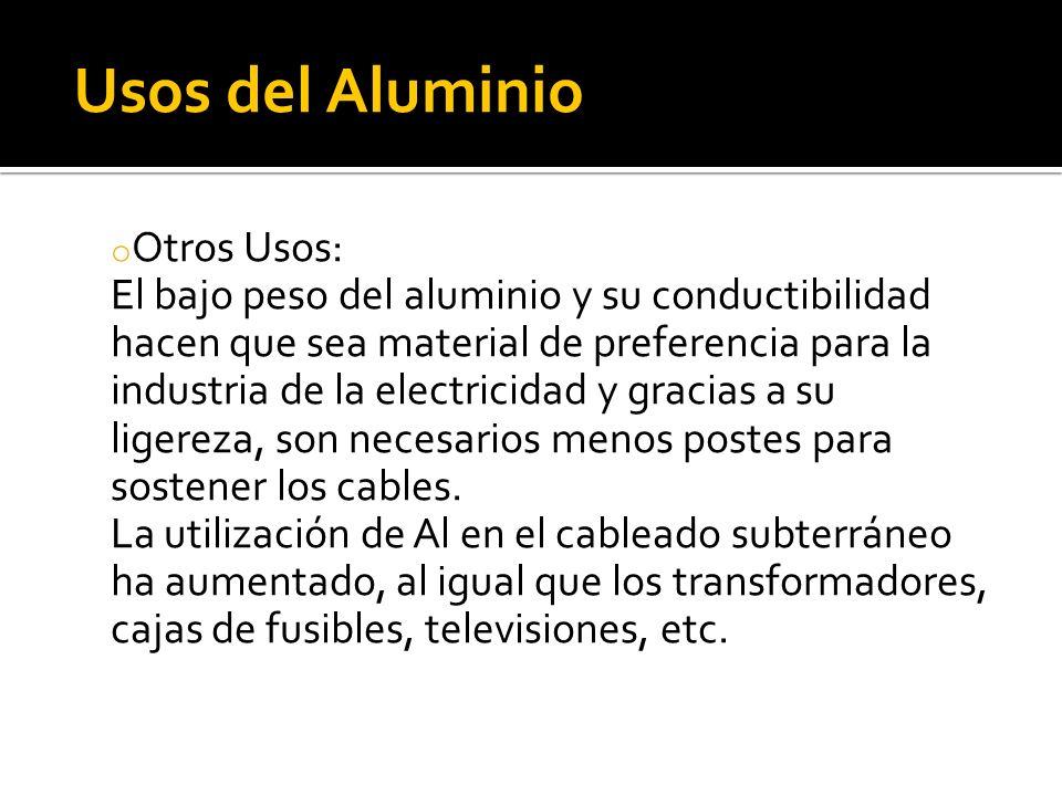 Usos del Aluminio Otros Usos: