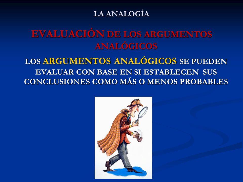 EVALUACIÓN DE LOS ARGUMENTOS ANALÓGICOS