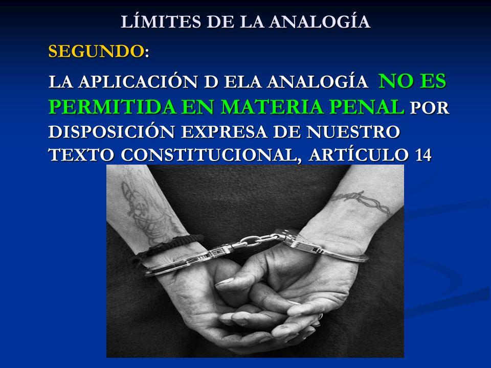 LÍMITES DE LA ANALOGÍA SEGUNDO: