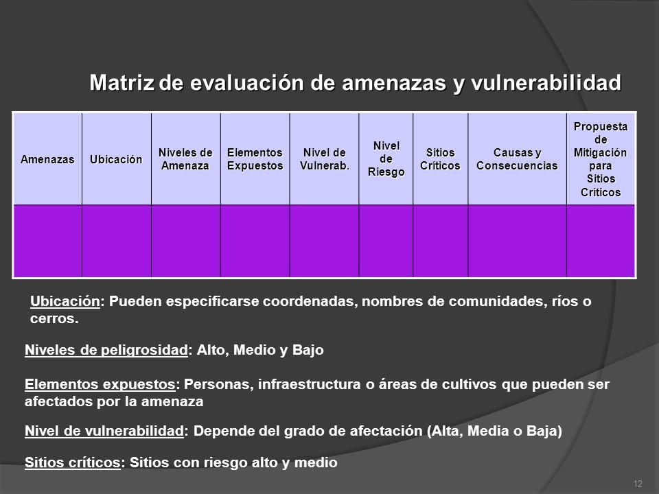Matriz de evaluación de amenazas y vulnerabilidad