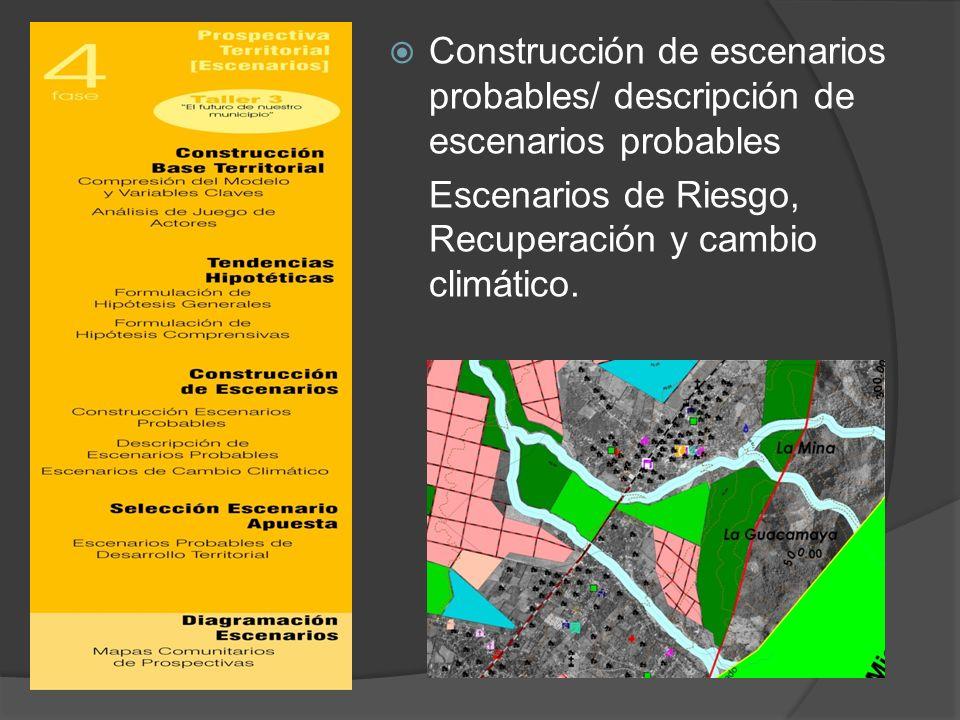 Construcción de escenarios probables/ descripción de escenarios probables