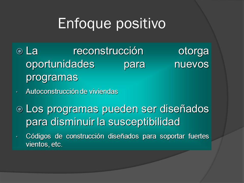 Enfoque positivo La reconstrucción otorga oportunidades para nuevos programas. Autoconstrucción de viviendas.