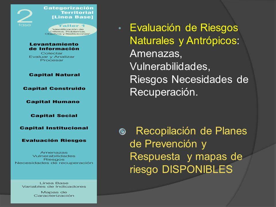 Evaluación de Riesgos Naturales y Antrópicos: Amenazas, Vulnerabilidades, Riesgos Necesidades de Recuperación.