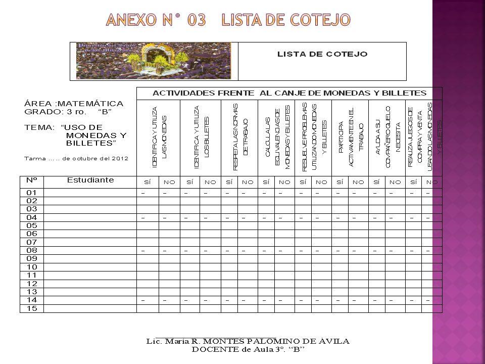ANEXO N° 03 LISTA DE COTEJO