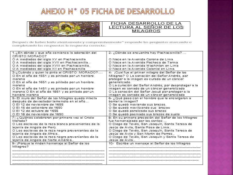 ANEXO N° 05 FICHA DE DESARROLLO