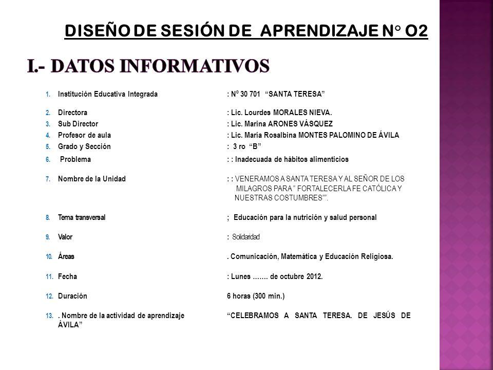 DISEÑO DE SESIÓN DE APRENDIZAJE N° O2