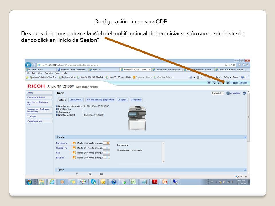 Configuración Impresora CDP