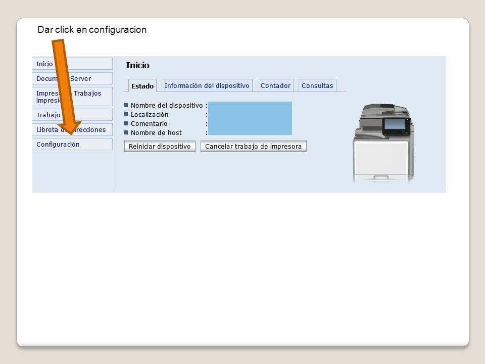 Dar click en configuracion