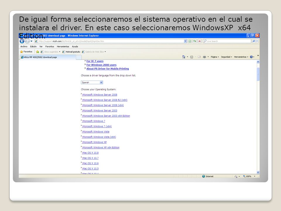 De igual forma seleccionaremos el sistema operativo en el cual se instalara el driver.