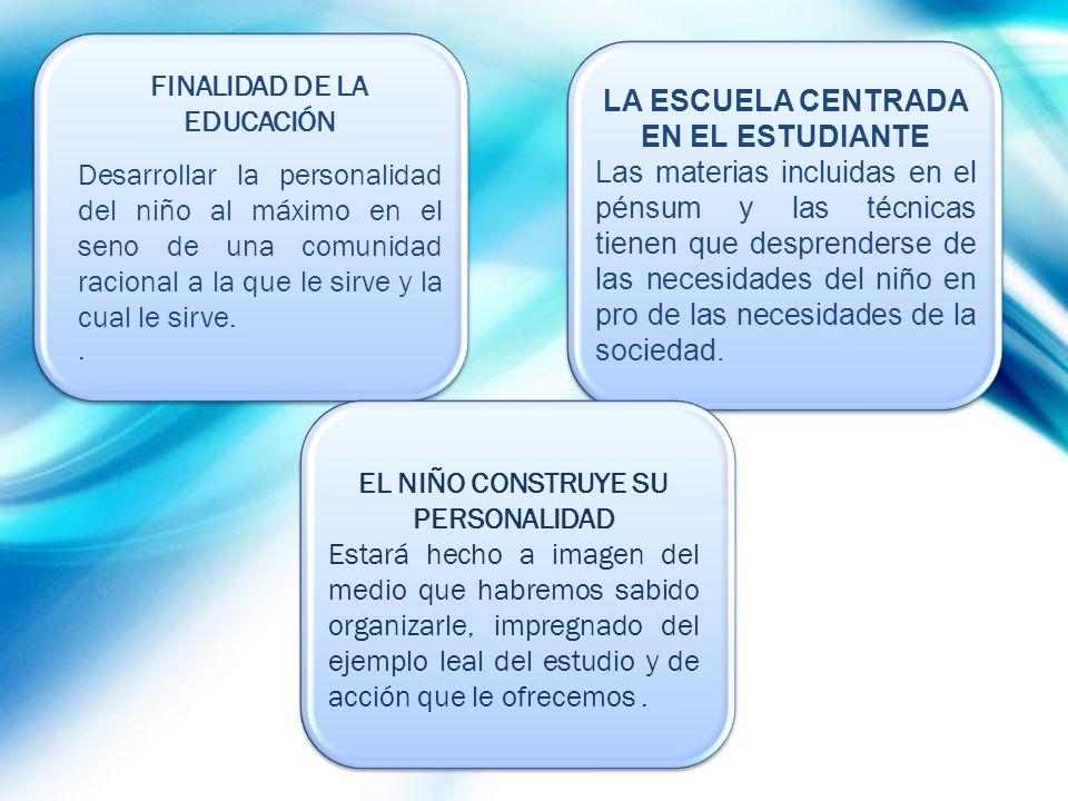 FINALIDAD DE LA EDUCACIÓN LA ESCUELA CENTRADA EN EL ESTUDIANTE
