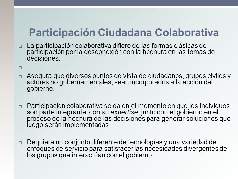 Participación Ciudadana Colaborativa