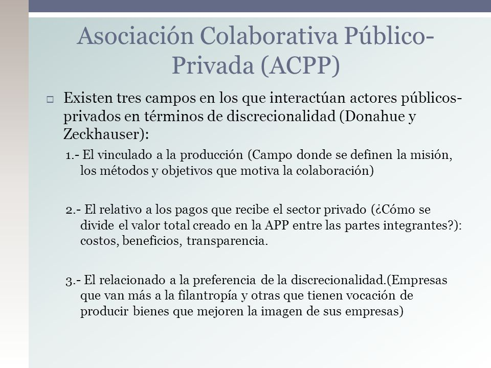 Asociación Colaborativa Público-Privada (ACPP)