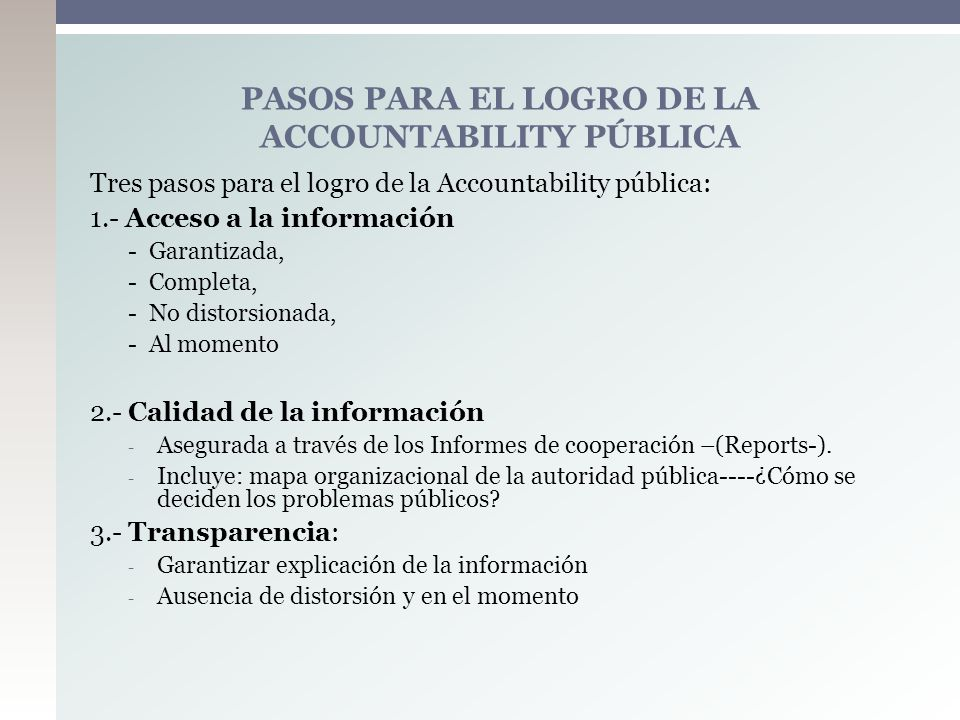 PASOS PARA EL LOGRO DE LA ACCOUNTABILITY PÚBLICA