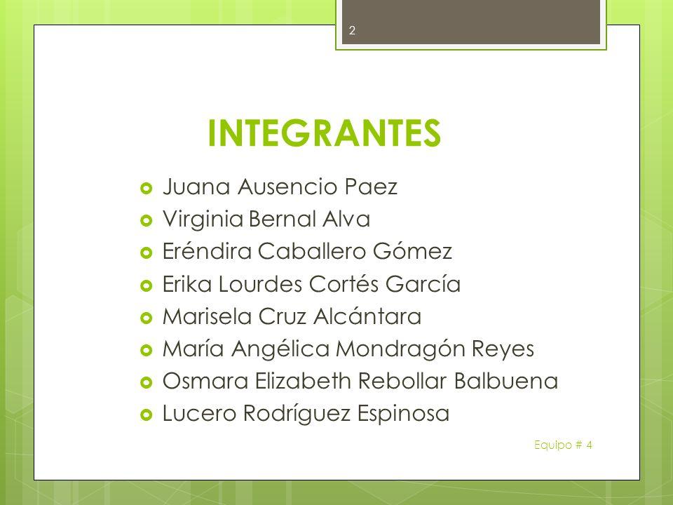 INTEGRANTES Juana Ausencio Paez Virginia Bernal Alva