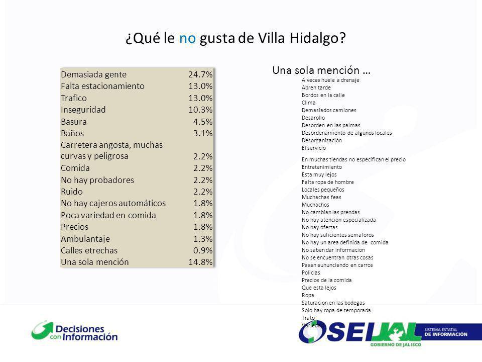 ¿Qué le no gusta de Villa Hidalgo