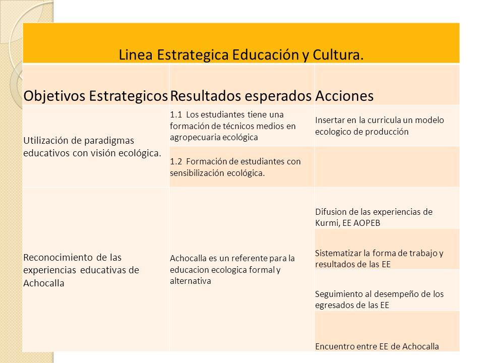 Linea Estrategica Educación y Cultura.