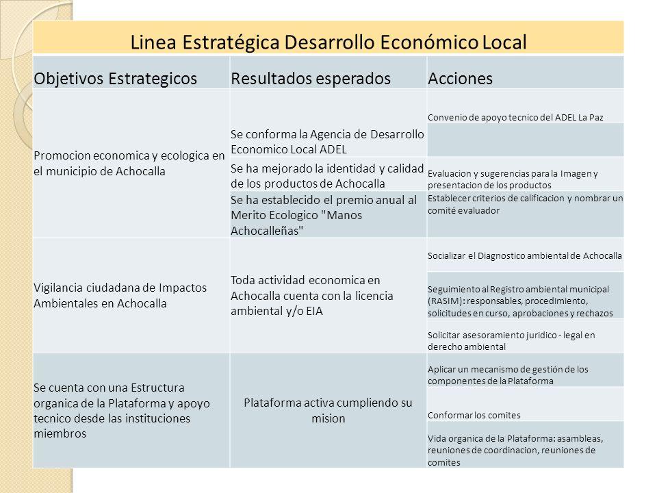 Linea Estratégica Desarrollo Económico Local