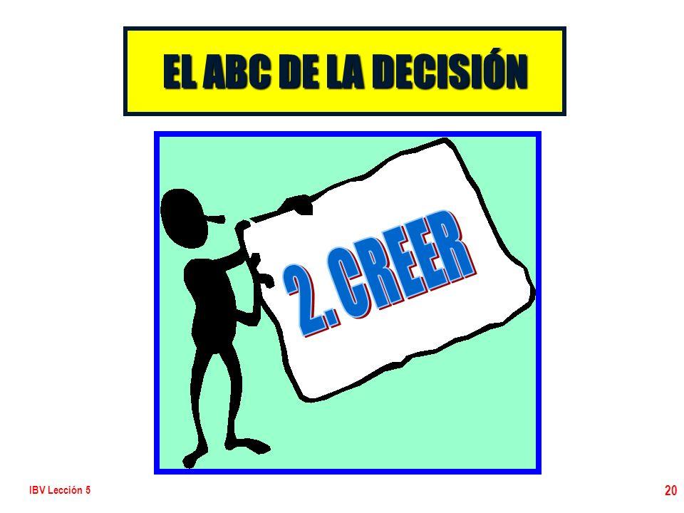 EL ABC DE LA DECISIÓN 2. CREER IBV Lección 5
