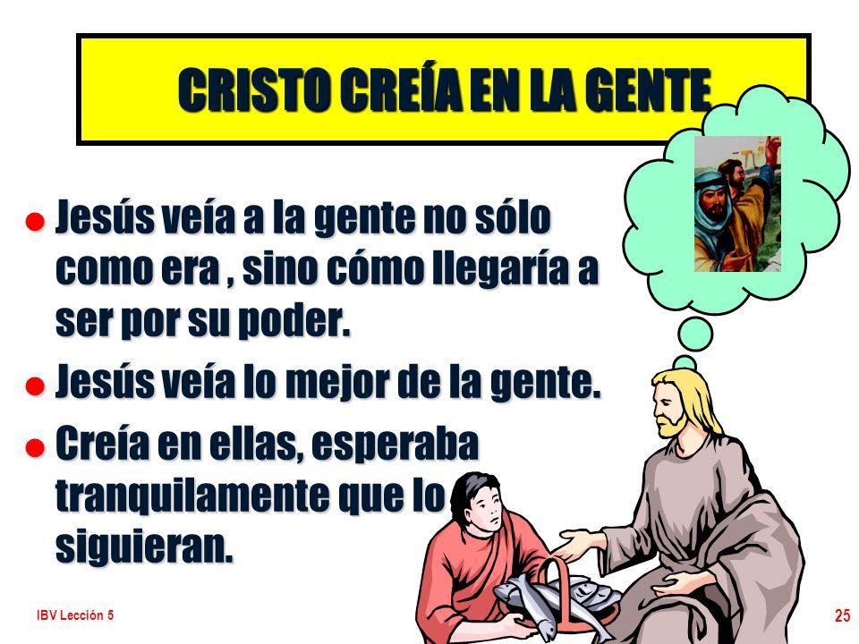 CRISTO CREÍA EN LA GENTE