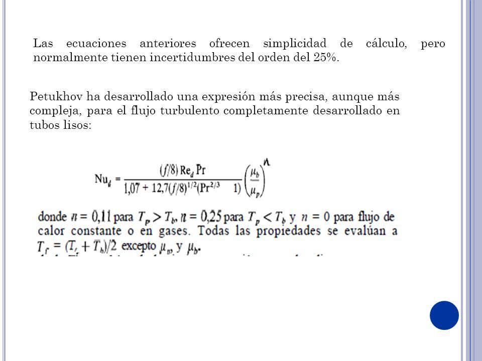 Las ecuaciones anteriores ofrecen simplicidad de cálculo, pero normalmente tienen incertidumbres del orden del 25%.