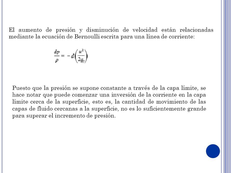 El aumento de presión y disminución de velocidad están relacionadas mediante la ecuación de Bernoulli escrita para una línea de corriente: