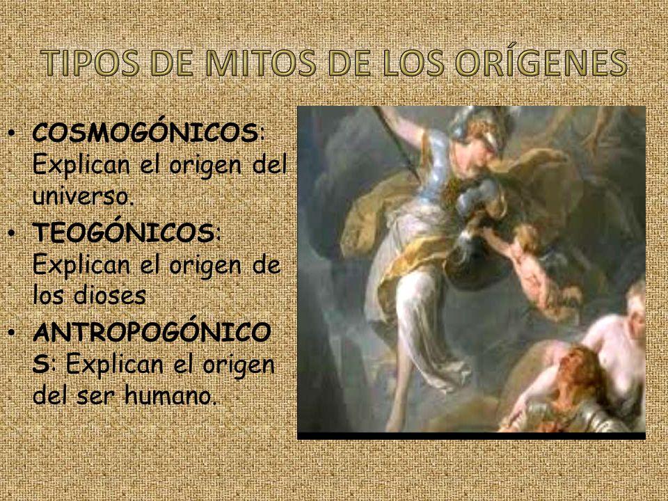 TIPOS DE MITOS DE LOS ORÍGENES