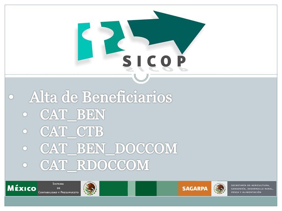 Alta de Beneficiarios CAT_BEN CAT_CTB CAT_BEN_DOCCOM CAT_RDOCCOM