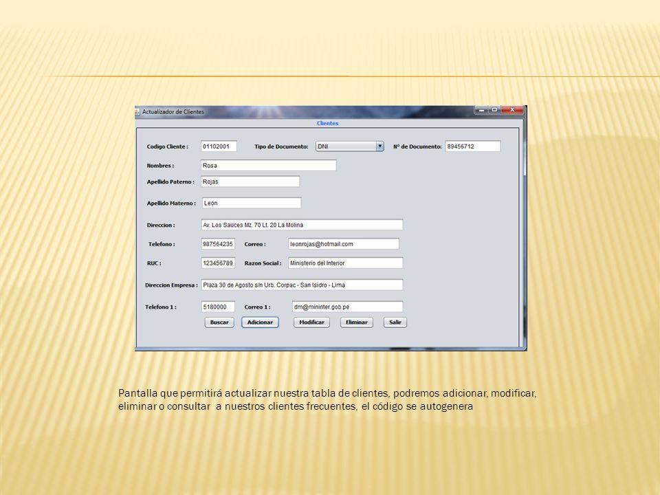 Pantalla que permitirá actualizar nuestra tabla de clientes, podremos adicionar, modificar, eliminar o consultar a nuestros clientes frecuentes, el código se autogenera