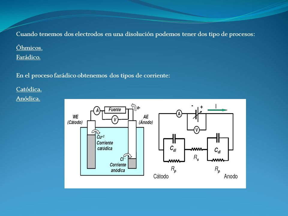 Cuando tenemos dos electrodos en una disolución podemos tener dos tipo de procesos: