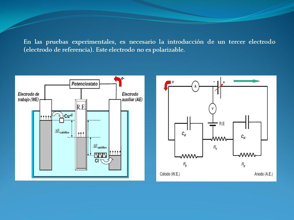 En las pruebas experimentales, es necesario la introducción de un tercer electrodo (electrodo de referencia).
